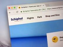 Fficial homepage av den Amsterdam flygplatsen Schiphol royaltyfri foto