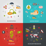 Ffinancial Crisis 4 Flat Icons Square. Financial crisis 4 flat Icons composition poster with inflation and recession business risks abstract isolated vector Stock Image