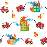 Firetrucks and buildings. Seamless pattern with firetrucks and buildings with white background Stock Image