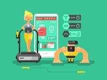 Ffitness app男人和妇女平的设计 皇族释放例证