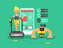 Ffitness app man and woman flat design Royalty Free Stock Photo