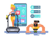 Ffitness app man and woman working out Royalty Free Stock Photography