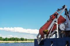 FFLB Equipamento de salvamento do dispositivo Livre a canoa de salva??o da queda SOLAS 72 imagens de stock royalty free