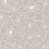 Ffloral naadloos patroon met contour van bloemengele narcissen vector illustratie