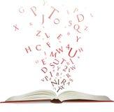 Öffnen Sie Buch mit Zeichen Stockbilder