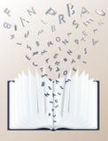 Öffnen Sie Buch mit Zeichen 3d Stockfotografie