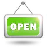 Öffnen Sie grünes Zeichen Stockfoto