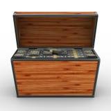 Öffnen Sie Kasten mit Dollar auf weißem Hintergrund Stockbild