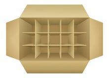 Öffnen Sie leeren verpackenkasten der Wellpappe Lizenzfreies Stockbild