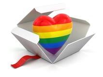 Öffnen Sie Paket mit Farbherzen Stockbild