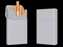 Öffnen Sie sich und naher Satz Zigaretten, die auf einem schwarzen Hintergrund lokalisiert werden Abbildung 3D Lizenzfreies Stockfoto