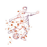 Ffootball soccer player with ball. Royalty Free Stock Images