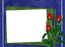 Fframe с красными розами на синей предпосылке Стоковое Изображение RF