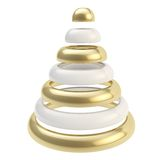 Ffuturistic Christmas tree made of rings isolated. Futuristic Christmas tree made of glossy rings shape composition isolated on white background Stock Photos