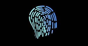 Ffuturistic digital processing of biometric Animation of fingerprint black. security scanning stock illustration