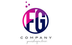 FG F G Circle Letter Logo Design with Purple Dots Bubbles Stock Photo