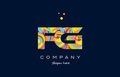 Fg f g colorful alphabet letter logo icon template vector. Fg f g alphabet letter logo colors colorful rainbow acrylic font creative text dots company vector Stock Photo