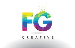 FG F G Colorful Letter Origami Triangles Design Vector. Royalty Free Stock Image