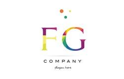Fg f g  creative rainbow colors alphabet letter logo icon. Fg f g  creative rainbow colors colored alphabet company letter logo design vector icon template Stock Photos
