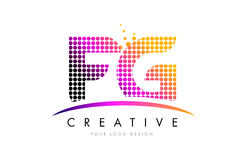 FG F G Letter Logo Design with Magenta Dots and Swoosh Stock Images