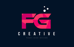 FG F G Letter Logo with Purple Low Poly Pink Triangles Concept Stock Photo