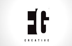 FG F G White Letter Logo Design with Black Square. Royalty Free Stock Photo