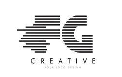 FG F G Zebra Letter Logo Design with Black and White Stripes. Vector Royalty Free Stock Image