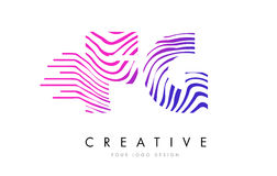 FG F G Zebra Lines Letter Logo Design with Magenta Colors. FG F G Zebra Letter Logo Design with Black and White Stripes Vector Royalty Free Stock Image