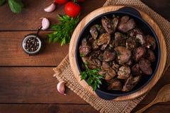 Fígado de frango frito Fotos de Stock Royalty Free