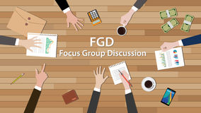 Fgd focus group discussion team work together on wood table Royalty Free Stock Image