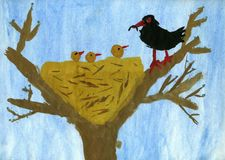 fågelrede s Arkivfoto