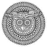 Fågeltema Svartvit mandala för uggla med den abstrakta etniska aztec prydnadmodellen Royaltyfria Bilder