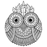 Fågeltema Svartvit mandala för uggla med den abstrakta etniska aztec prydnadmodellen Arkivbilder