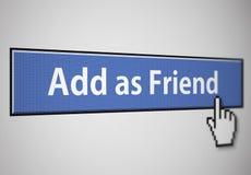 Fügen Sie als Freundtaste hinzu Stockbild