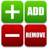 Fügen Sie hinzu und entfernen Sie Knöpfe mit Aufklebern und Symbolen Stockfotos