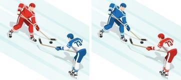 Fght pour le galet au match de hockey illustration stock