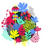 Fåglar, blommor och annan natur. Arkivfoto