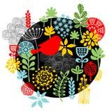 Fåglar, blommor och annat naturtryck. Arkivbild