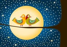 Fåglar måne och stjärnahälsningkort Arkivbild