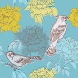 Fåglar och blommor - seamless modell Royaltyfria Bilder