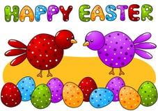 Fåglar och polkaen pricker det lyckliga påskkortet för ägg Royaltyfri Bild