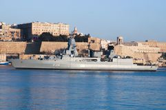 FGS Saxe entrant dans le port grand, Malte le 26 janvier 18 photos stock