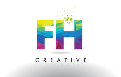 FH F H Colorful Letter Origami Triangles Design Vector. Royalty Free Stock Photos