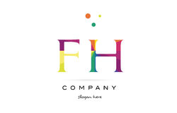 Fh f h  creative rainbow colors alphabet letter logo icon Stock Images