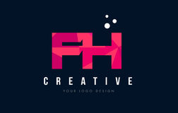 FH F H Letter Logo with Purple Low Poly Pink Triangles Concept. FH F H Purple Letter Logo Design with Low Poly Pink Triangles Concept Stock Image