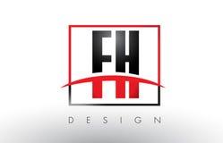 FH F H Logo Letters avec des couleurs et le bruissement rouges et noirs illustration stock