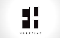 FH F H White Letter Logo Design with Black Square. Stock Photo
