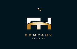 Fh f h  white yellow gold golden luxury alphabet letter logo ico Royalty Free Stock Image