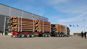 FH16 750 8X4 WoodPro Timber Hauler. LIETO, FINLAND - APRIL 5, 2014: Volvo Trucks presents the new FH16 750hp timber hauler as part of their new truck range at Stock Images