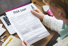 FHA贷款财务抵押形式应用概念 免版税库存照片